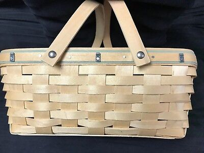 Longaberger Rectangular Dual  Handle Basket Yankee Candle Jar Tacks Rare 3 Sigs