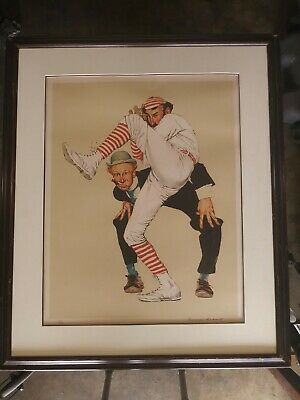 "Vintage 1976 Baseball Lithograph ""the Wind Up"" Norman Rockwell Hand Signed Vgc"