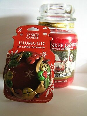 Yankee Candle Sleigh Bells Ring 22 Jar And Jingle Bells Illuma Lid Topper New