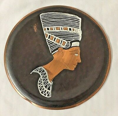 "Copper 7 3/4"" Serving Tray Wall Hanging Platter W Egyption Bust Motif"