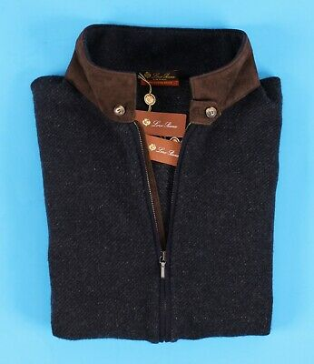 $1850 nwt  loro piana 100% cashmere / suede bomber roadster sweater  blue  m