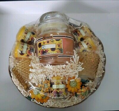 Yankee Candle Sunflower Retired Rare Gift Set 14.5 Oz & (5) 1.75 Oz Candles