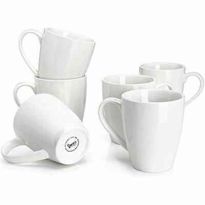 601.001 Porcelain Mugs - 16 Ounce Coffee, Tea, Cocoa, Set 6, White Cups