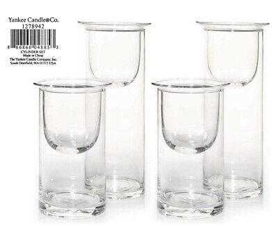 4 Total Yankee Candle Clear Glass Cylinder Candleholder Sets - 2 New Sets Of 2