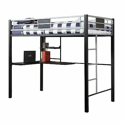 Full Size Loft Bed With Workstation And Side Ladders, Silver, Black