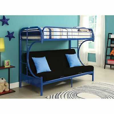 Metal Twin Over Full Size Futon Bunk Bed With Built-in Side Ladders, Navy Blue