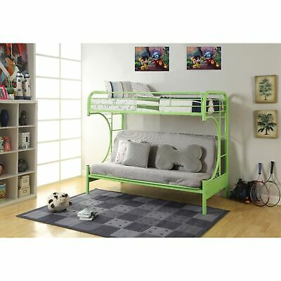 Metal Twin Over Full Size Futon Bunk Bed With Built-in Side Ladders, Green