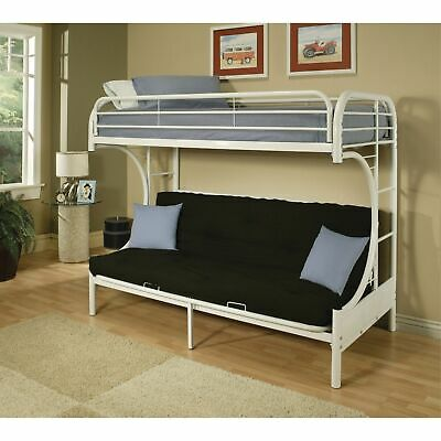 Metal Twin Over Full Size Futon Bunk Bed With Built-in Side Ladders, White
