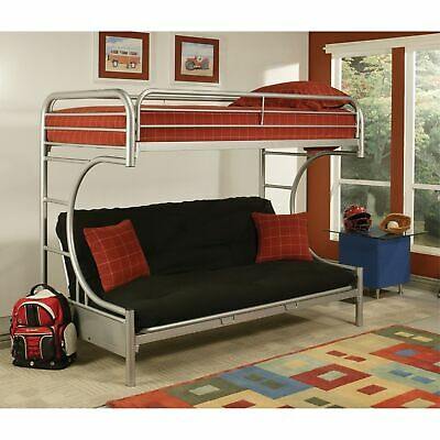 Metal Twin Over Full Size Futon Bunk Bed With Built-in Side Ladders, Silver