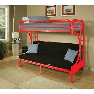 Metal Twin Over Full Size Futon Bunk Bed With Built-in Side Ladders, Red