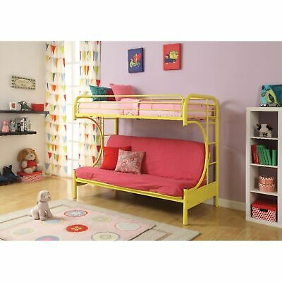 Metal Twin Over Full Size Futon Bunk Bed With Built-in Side Ladders, Yellow