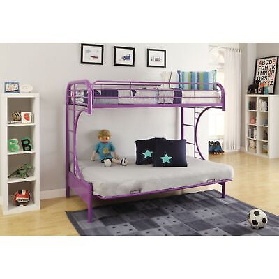 Metal Twin Over Full Size Futon Bunk Bed With Built-in Side Ladders, Purple