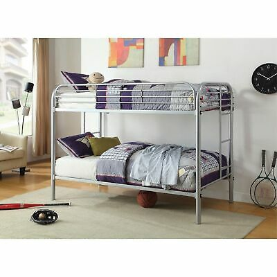 Metal Twin Over Twin Bunk Bed With Attached Side Rails And Side Ladders, Silver