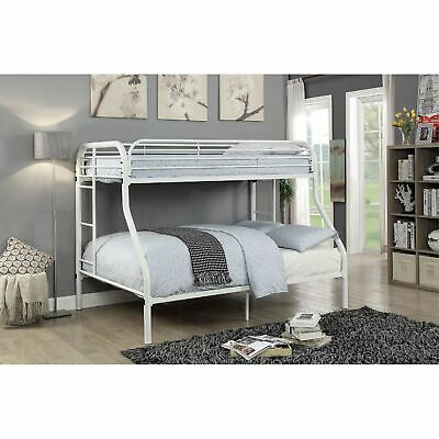 Metal Twin Over Full Bunk Bed With Attached Side Rails And Side Ladders, White