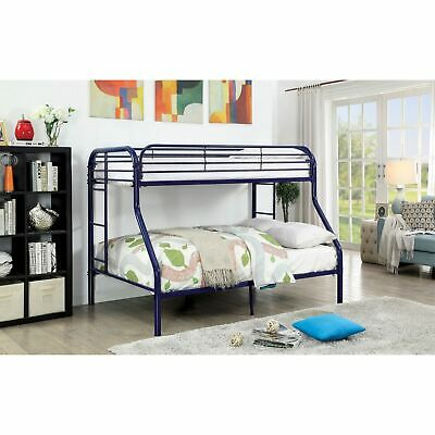 Metal Twin Over Full Bunk Bed With Attached Side Rails And Side Ladders, Blue