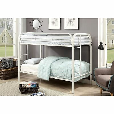 Metal Twin Over Twin Bunk Bed With Attached Side Rails And Side Ladders, White