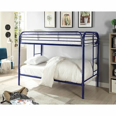 Metal Twin Over Twin Bunk Bed With Attached Side Rails And Side Ladders, Blue