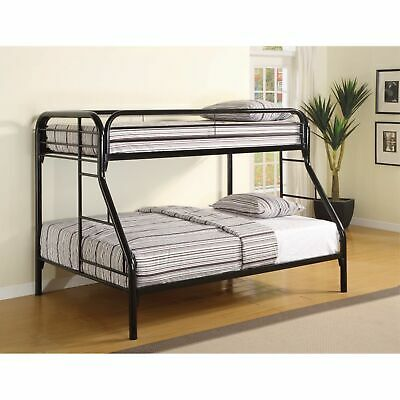 Casual Style Twin Over Full Bunk Bed With Side Ladders, Black