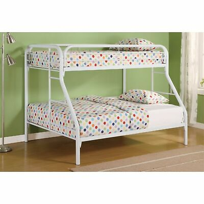 Stylish Twin Over Full Bunk Bed With Side Ladders, White