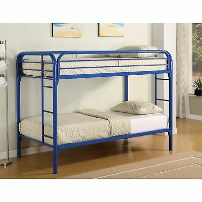 Simply Design Twin Over Twin Bunk Bed With Built-in Ladders, Blue