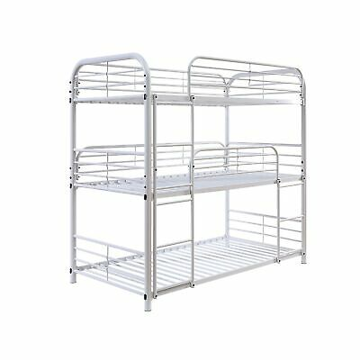 Metal Frame Three Tier Twin Size Bunk Bed With 2 Attached Ladders And Side Ra...