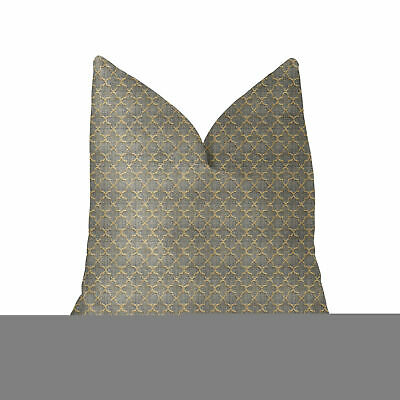 """Plutus Golden Clove Blue And Beige Luxury Throw Pillow - Double Sided  24"""" X 24"""""""
