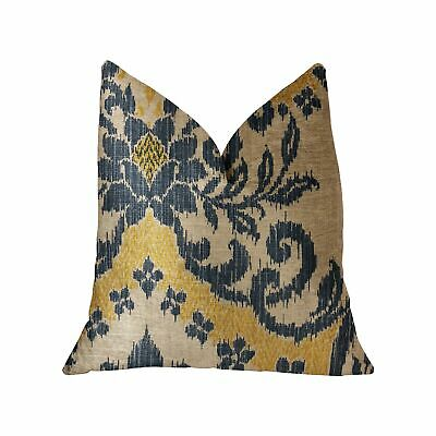 """Plutus Lasso Blue, Beige And Yellow Luxury Throw Pillow - Double Sided  26"""" X..."""