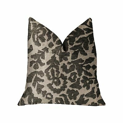 """Plutus Lustrous Leaves Gray Luxury Throw Pillow - Double Sided  20"""" X 30"""" Queen"""