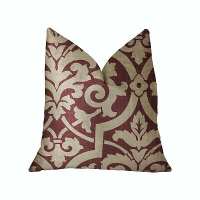 "Plutus Sacred Shield Red And Beige Luxury Throw Pillow - Double Sided  26"" X 26"""