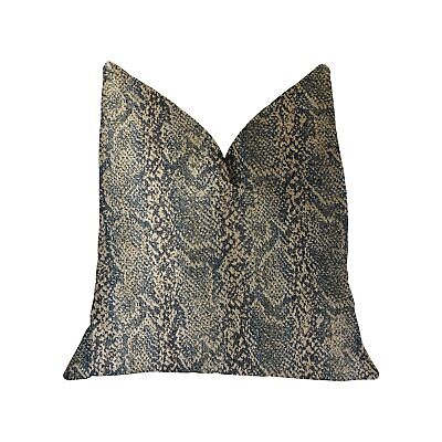 """Plutus Exotic Phantom  Blue And Gold Luxury Throw Pillow - Double Sided  20"""" ..."""