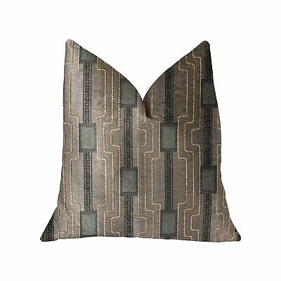 """Plutus Gusto Square Blue Luxury Throw Pillow - Double Sided  26"""" X 26"""""""