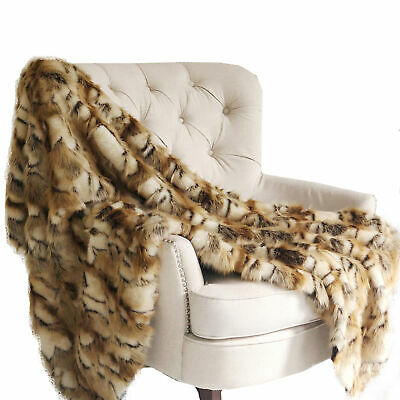 Plutus Brandy Gold And White Faux Fox Handmade Luxury Throw Blanket 90l X 90w...