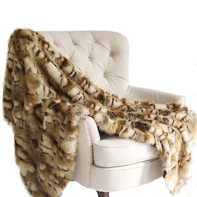 Plutus Brandy Gold And White Faux Fox Handmade Luxury Throw Blanket 108l X 90...