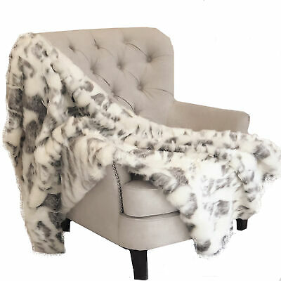 Plutus Ivory Rabbit Faux Fur Handmade Luxury Throw Blanket 96l X 110w Queen