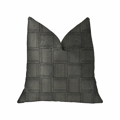 Plutus Licorice Black Artificial Leather Luxury Throw Pillow - Double Sided  ...