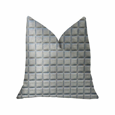 Plutus Silverton Silver Artificial Leather Luxury Throw Pillow - Double Sided...