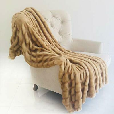 Plutus Brands  Beige Tissavel Mink Faux Fur Handmade Luxury Throw