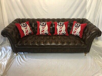 1 Large Chesterfield Mayfair Victorian Style Cognac Brown Leather Sofa 3 Seater
