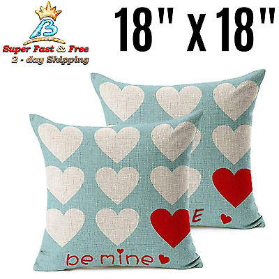 Valentines Day Throw Pillow Case Be Mine Love Heart Cushion Cover Home Decor New