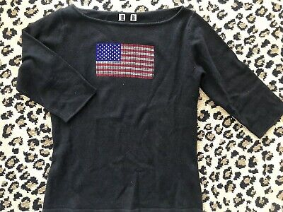 Black Cashmere American Flag Sweater Sz S Jeweled