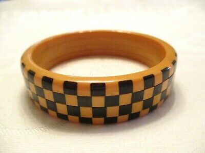 Very Rare 1940 Vintage Bakelite Black & Cream Checkerboard Bangle Bracelet