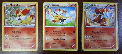 Delphox 13/124, Braixen 12/124, Fennekin 12/124 XY Fates Collide  M/NM Pokemon