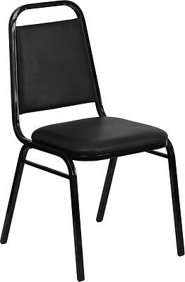 lot of 100 black vinyl banquet conference catering steel frame stack chairs