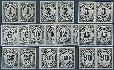 #o47p3-o56p3 Complete Set Post Office Dept Xf Plate Proofs On India Pair Hv6865