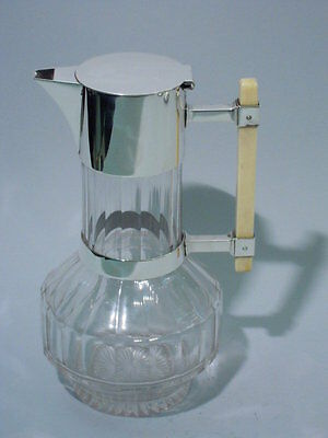 Christopher Dresser Decanter - English Sterling Silver & Glass - Hukin & Heath