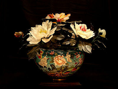"""17"""" W Chinese Jade Rose Quartz Agate Flower Tree Cloisonne Pot / Rosewood Stand"""
