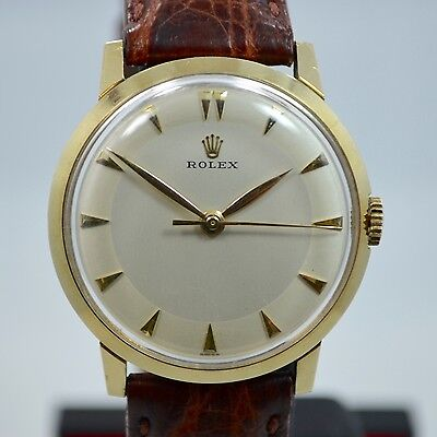 Vintage Rolex 14k Yellow Gold Dress Formal Silver Dial Manual Wind Watch