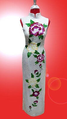 Flower/pearl White Chinese Sequin Gown Dress Drag Queen Diva Showgirl Cabaret