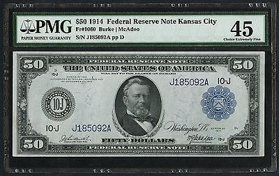 Fr1060 $50 1914 Series Frn Kansas City Pmg 45 Choice Xf (only 67 Exist) Wlm1654