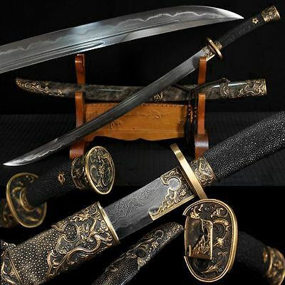 Boutique Chinese Sword Broadsword Clay Tempered Pattern Steel Genuine Ray Skin#7